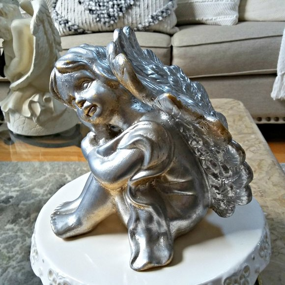 EXQUISITE Vintage SILVER/GOLD Reflecting ANGEL